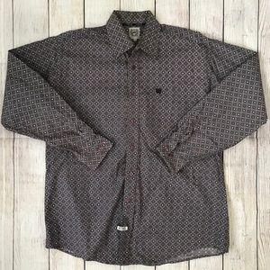 Cinch Long Sleeve Button Purple Shirt Men's Medium